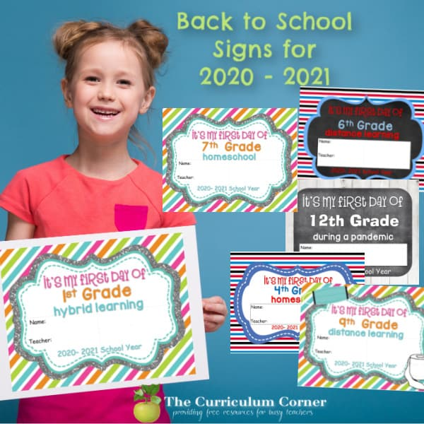 2020 – 2021 First Day of School of Signs