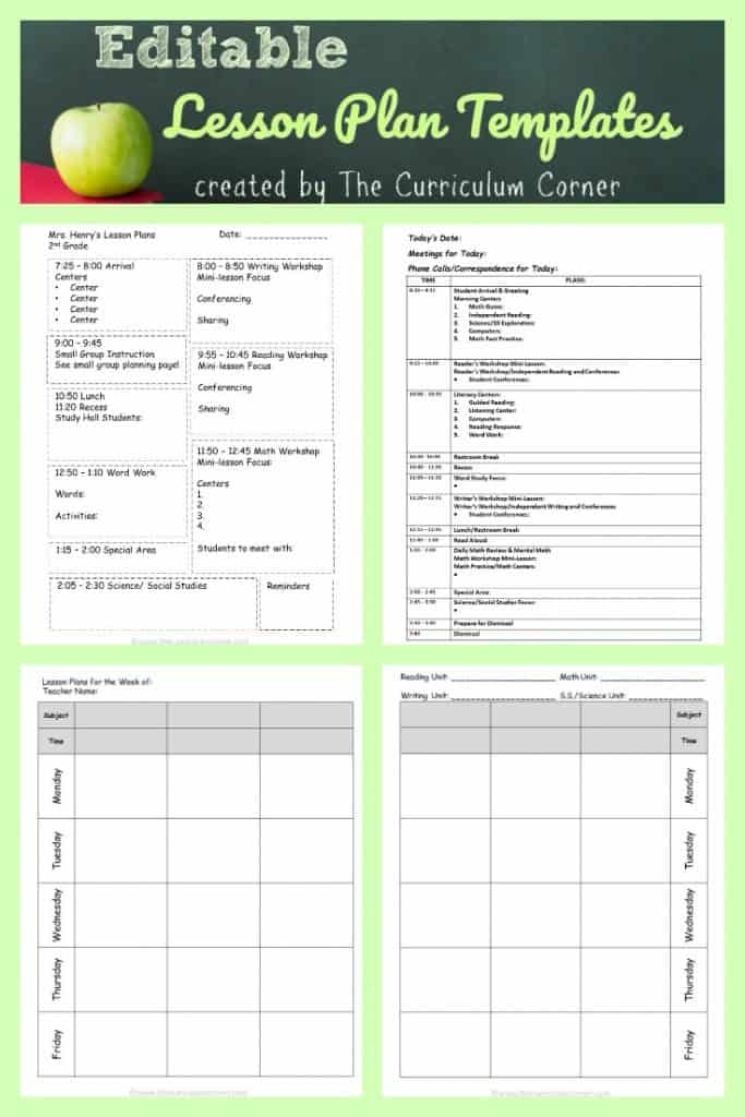 FREE Editable lesson plan templates from The Curriculum Corner