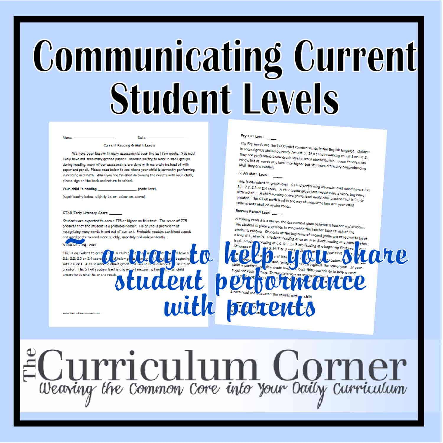 Communicating Current Student Levels