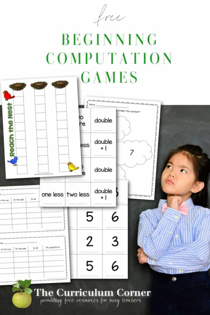 These beginning computation games are designed to help your young children use number sense to build computation skills. Free from The Curriculum Corner.