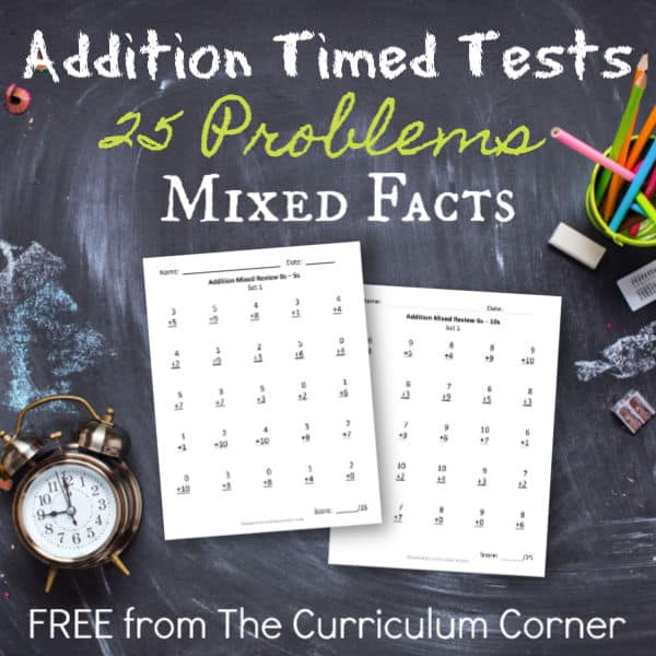 25 Addition Facts – Mixed Review Pages
