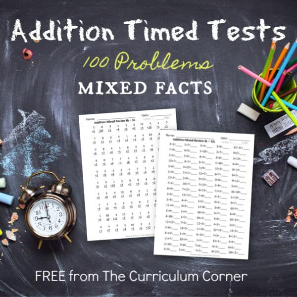 100 Addition Facts (Mixed Review Pages)