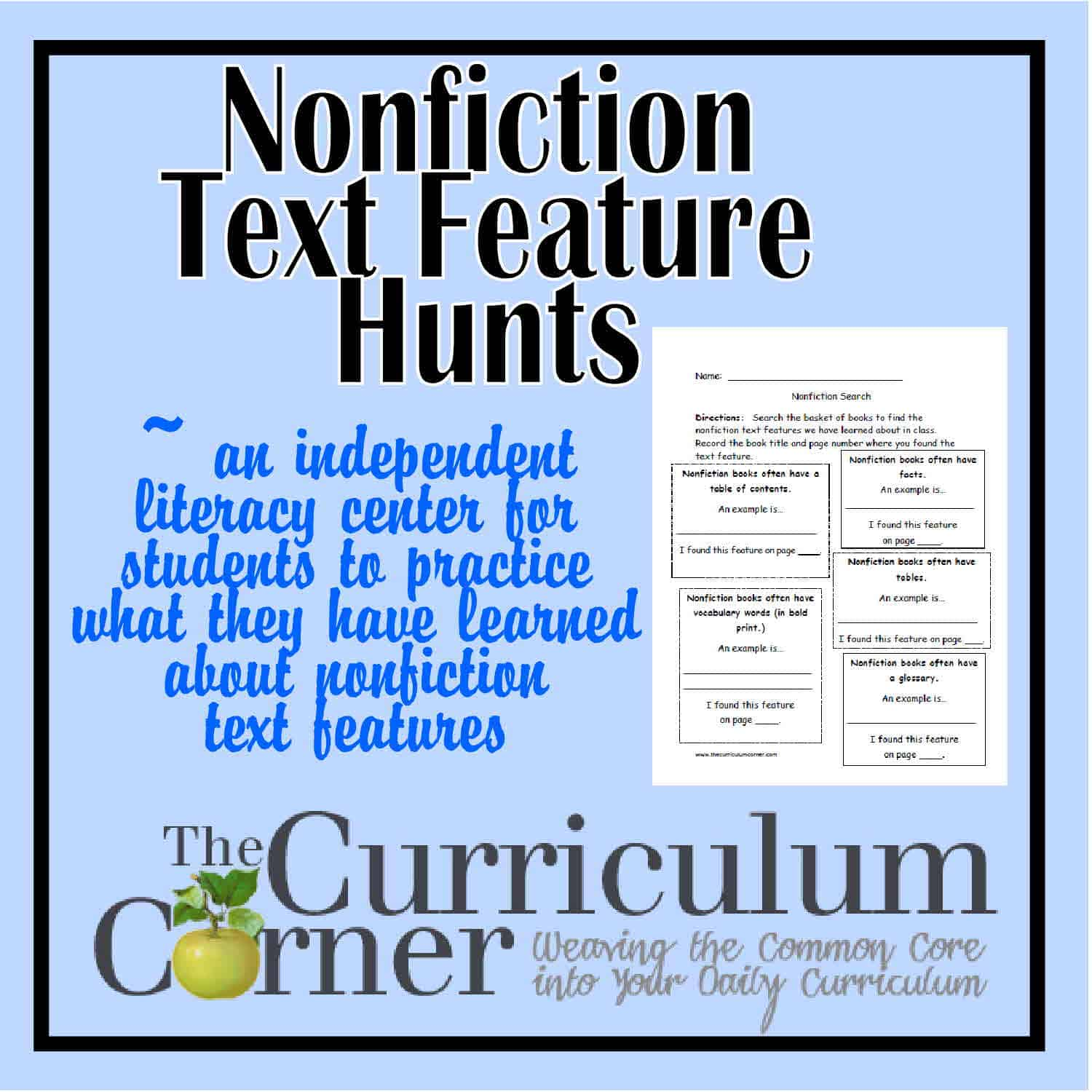 graphic relating to Printable Nonfiction Articles With Text Features known as Nonfiction Words and phrases Element Seem - The Curriculum Corner 123