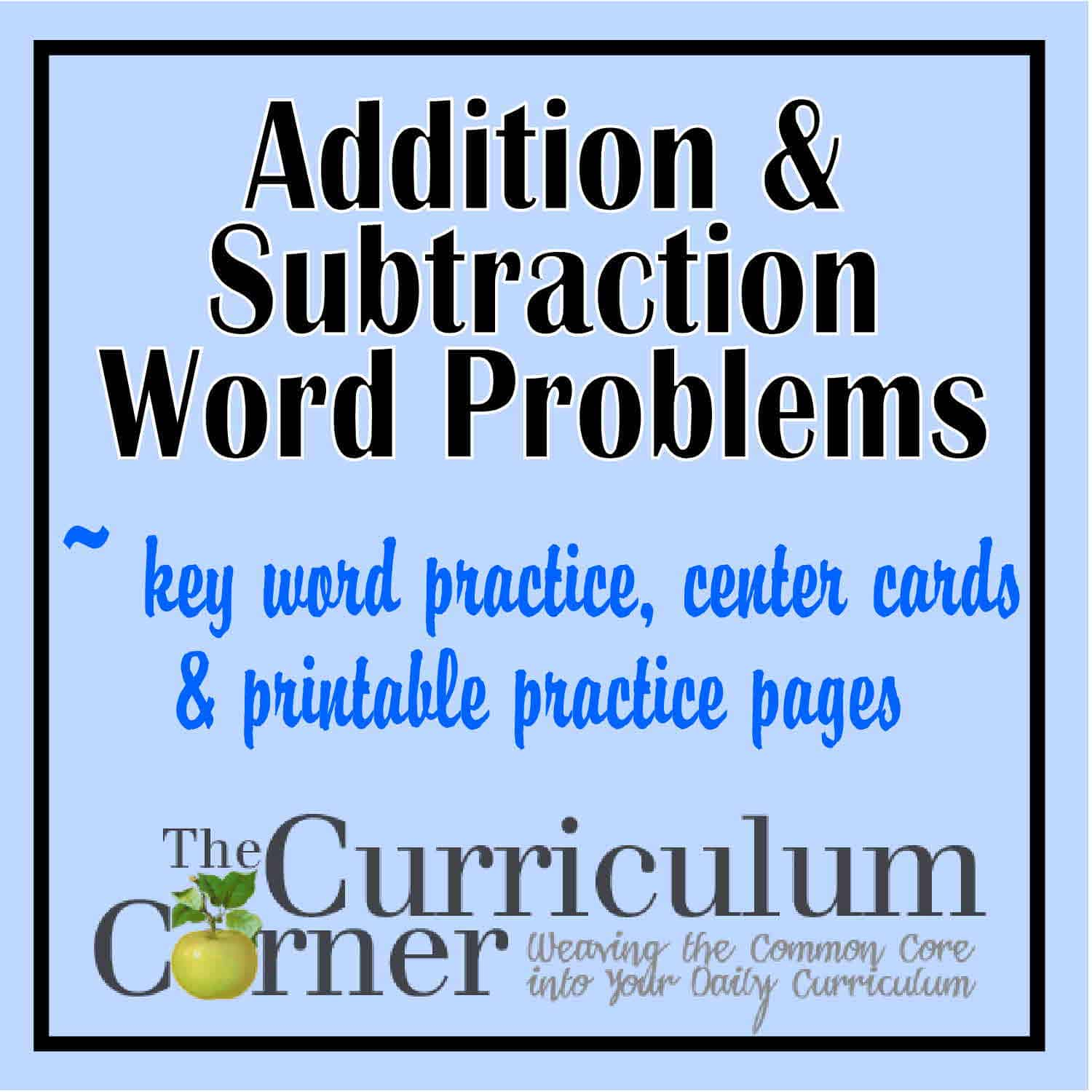 worksheet Addition And Subtraction Word Problems addition subtraction word problems the curriculum corner 123