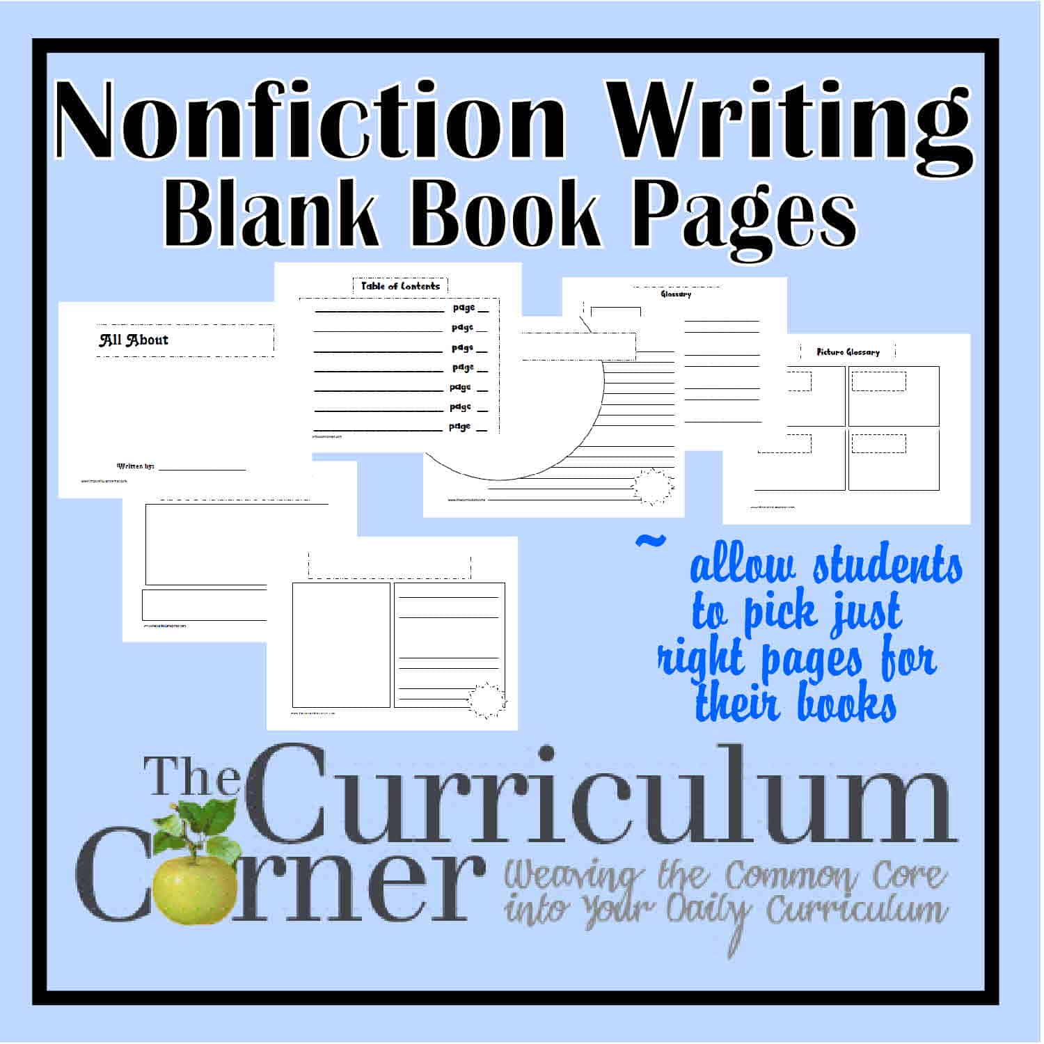 Nonfiction Writing Blank Book Pages