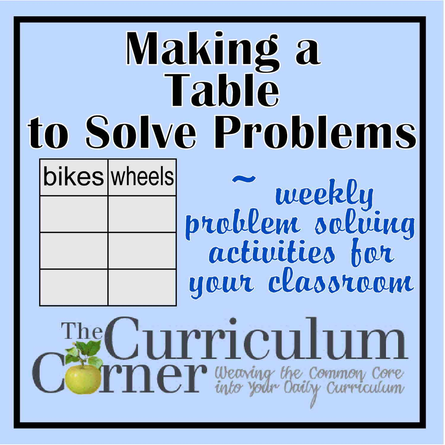 word problems with tables worksheets