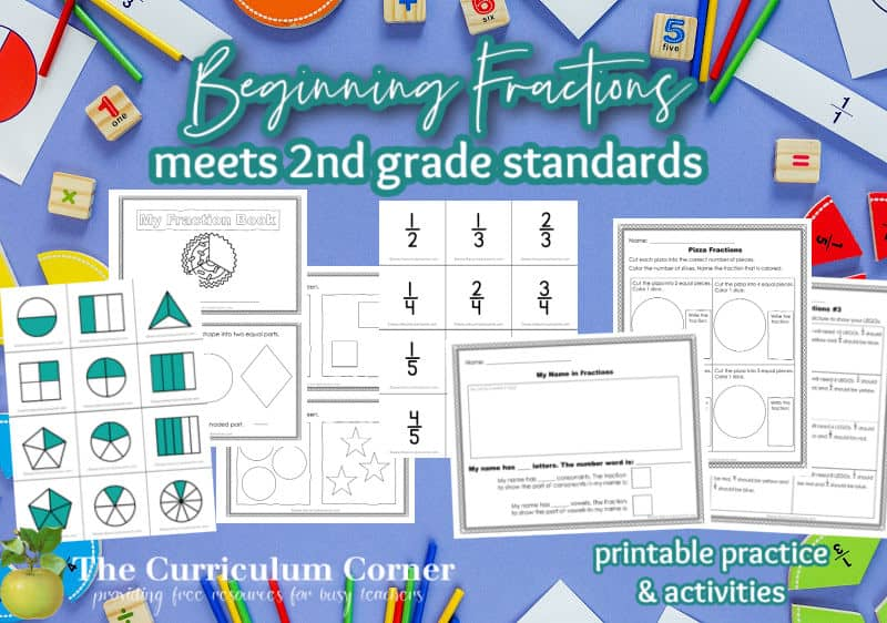 Our free beginning fractions for second grade activities have been created to help your students who are being introduced to fraction concepts. Another freebie from The Curriculum Corner.