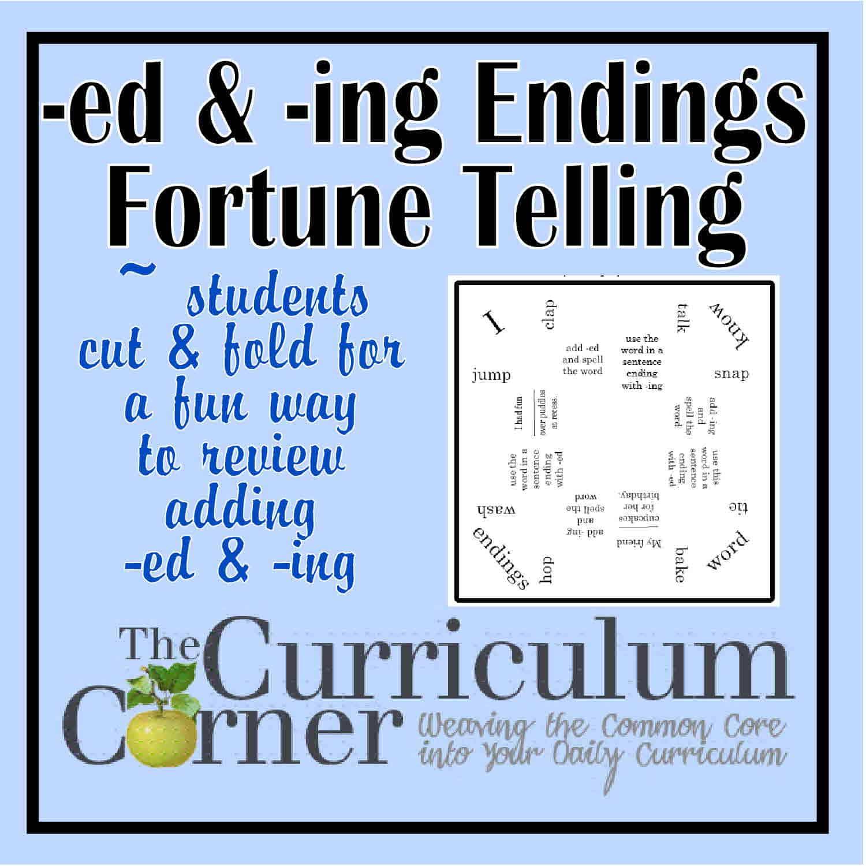 -ed & -ing Endings Fortune Teller