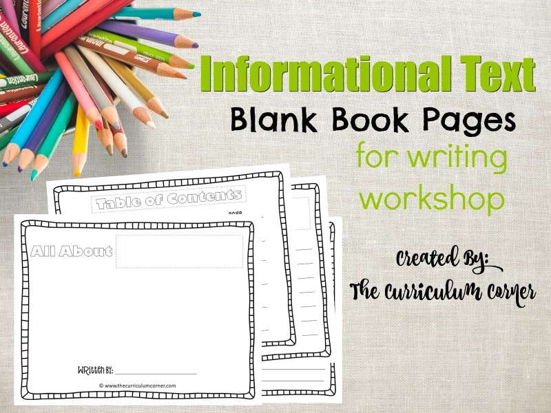 Informational Text Writing Blank Book Pages