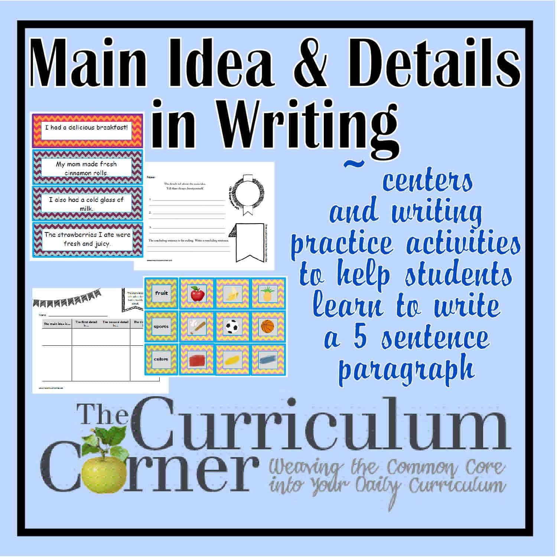 Paragraph Writing – Main Idea & Details Focus