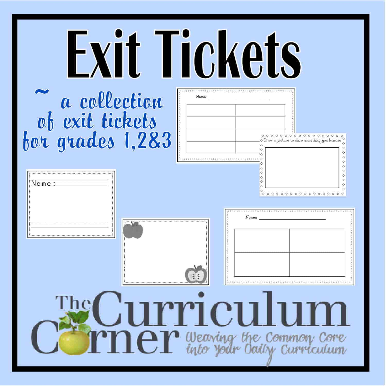 Generic Exit Tickets for Grades 1, 2 & 3
