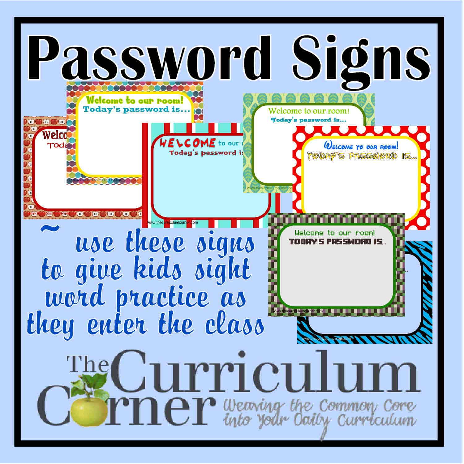 Today's Password… Sight Word Signs for Your Door