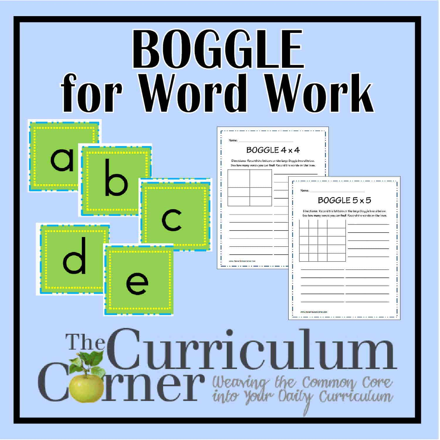 Boggle for Word Work Practice