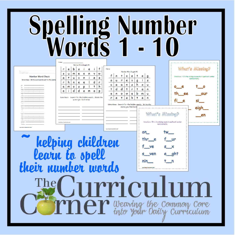 Spelling Number Words 1 – 10