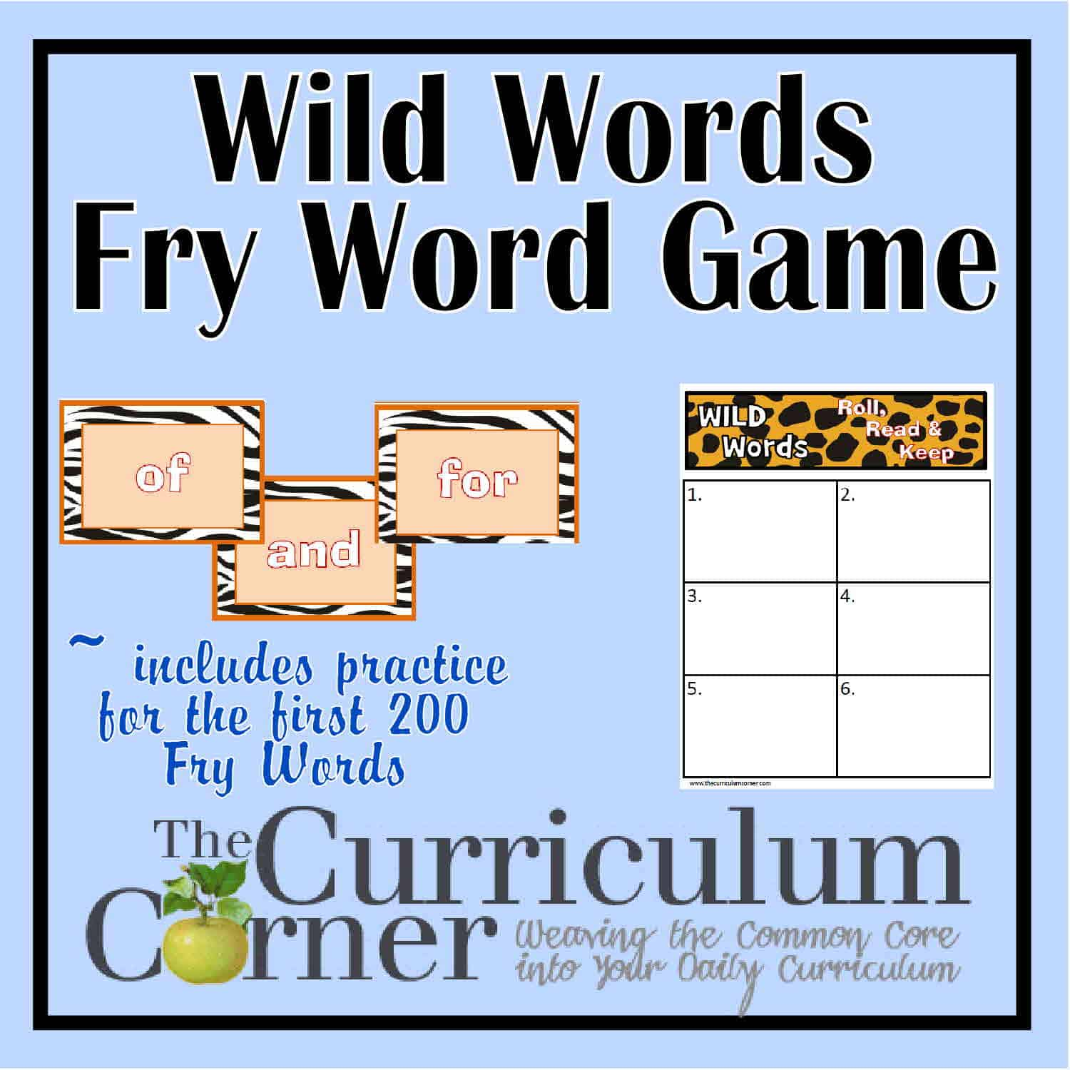 Wild Roll, Read & Keep Fry Word Game