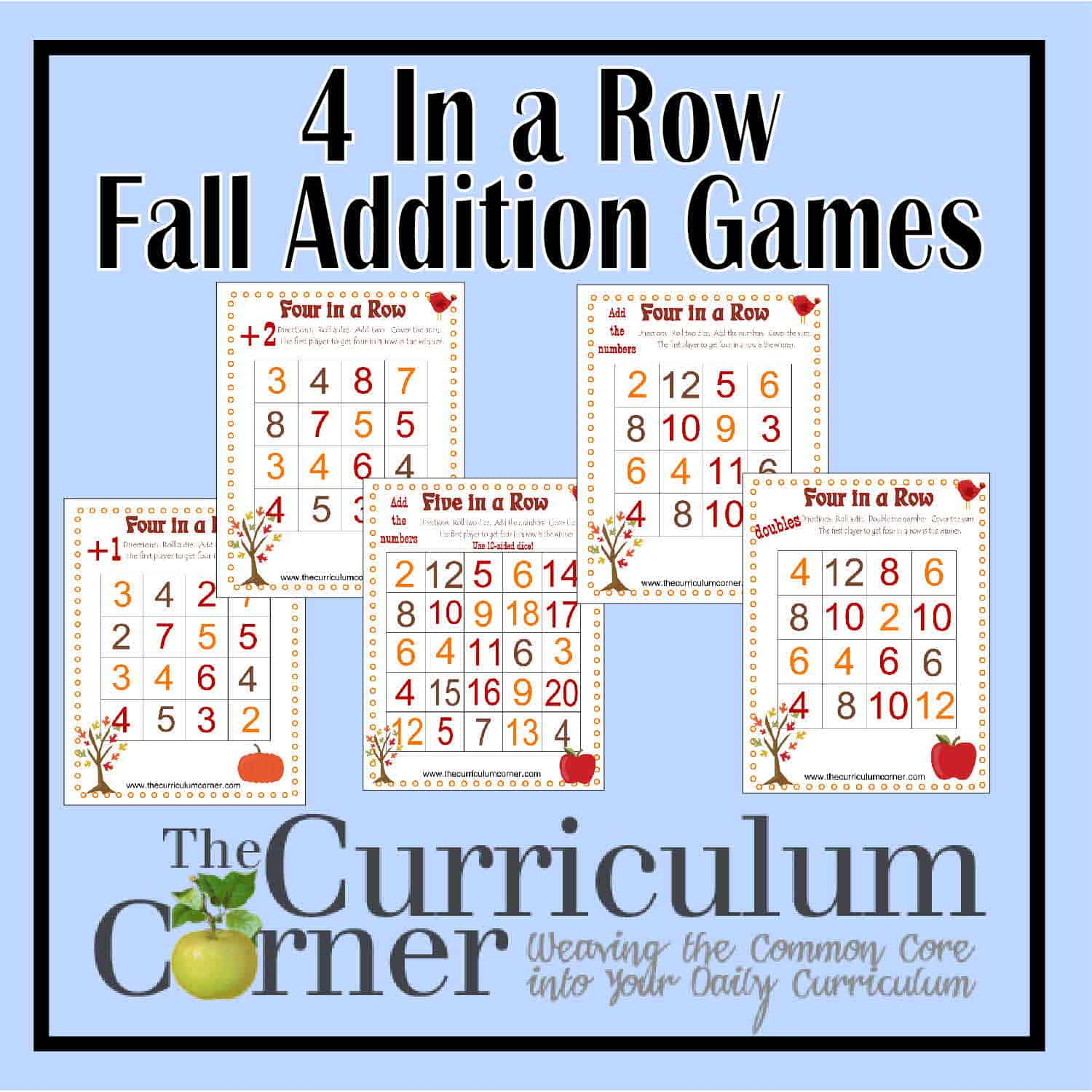 4 In a Row Addition Games for Fall