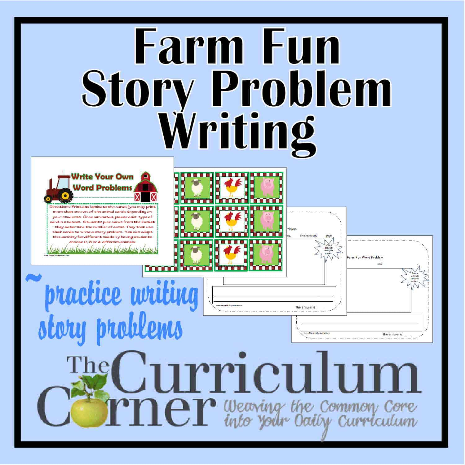 Farm Fun Writing Word Problems Activity