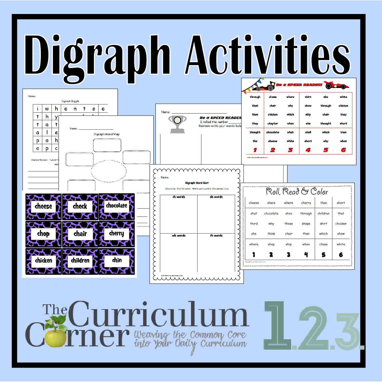 Consonant Digraph Activities - The Curriculum Corner 123
