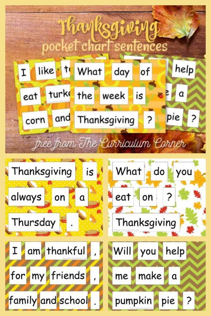 Thanksgiving Pocket Chart Sentences