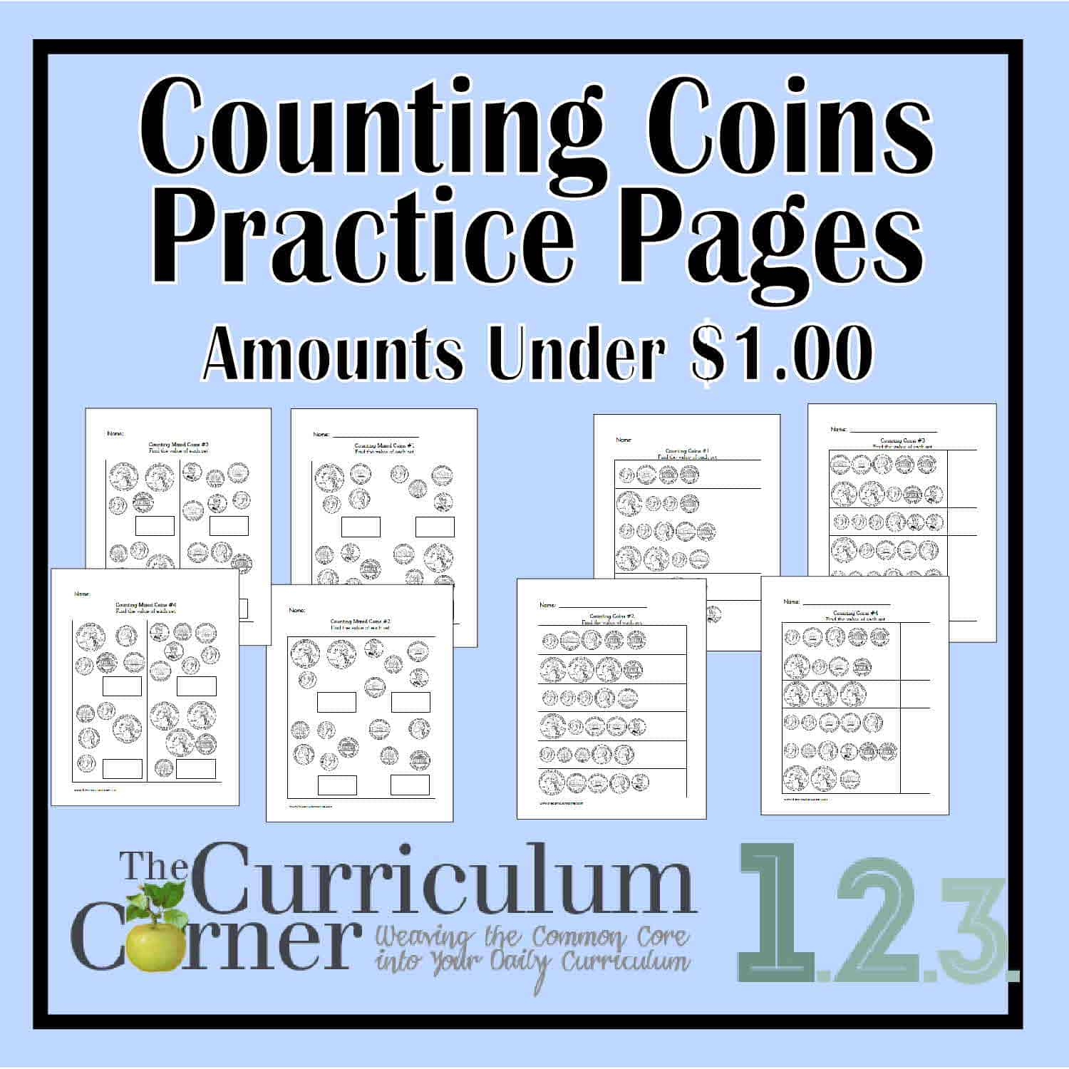 Counting Coins Practice Pages – Amounts Under $1.00