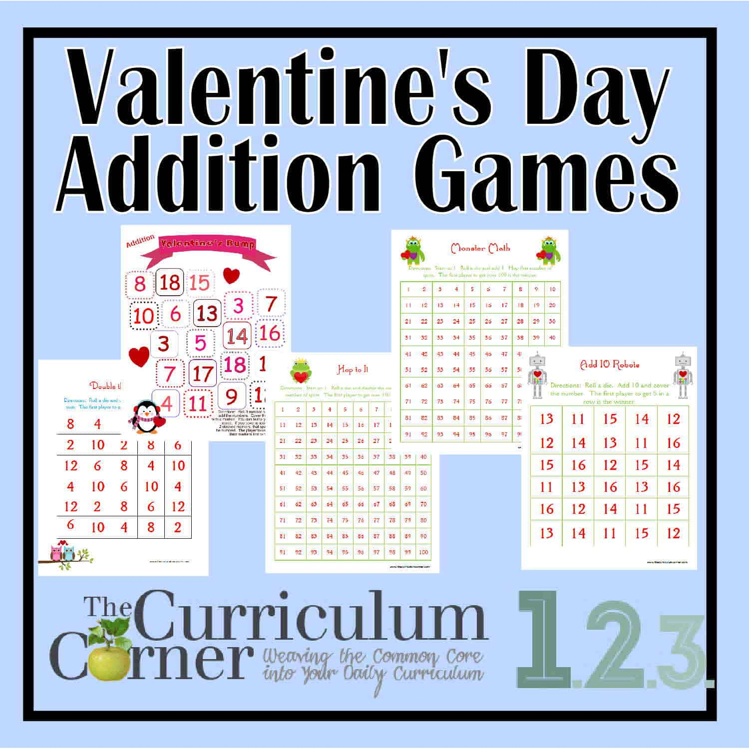 Valentine's Day Addition Math Games