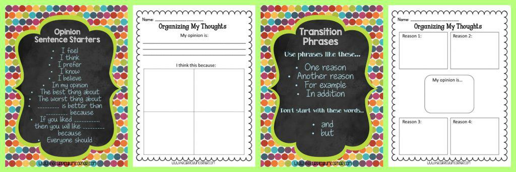 FREE Opinion Writing Unit of Study from The Curriculum Corner FREEBIE | blank books, mini-lesson & more | Writing Workshop