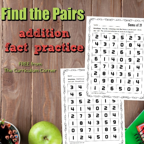 Addition Facts Practice Pages – Find the Pairs
