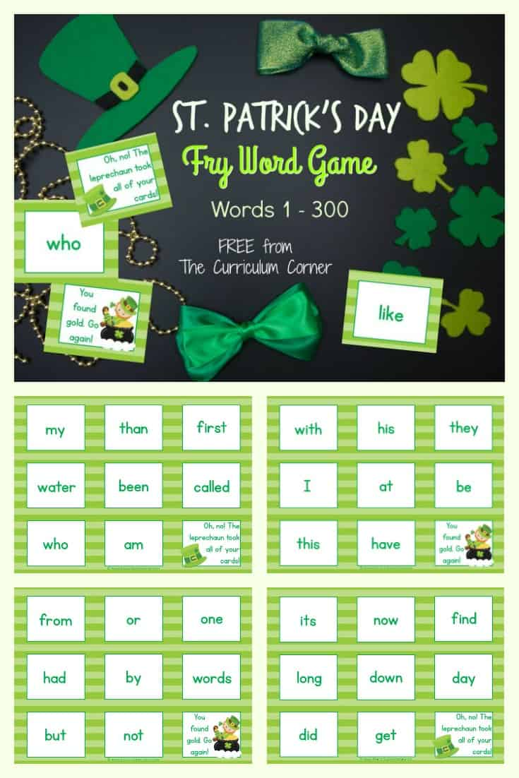 FREE St. Patrick's Day Fry Word Game from The Curriculum Corner