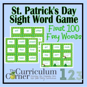 St. Patrick's Day Fry Word Game (1st 100 Words) from The Curriculum Corner