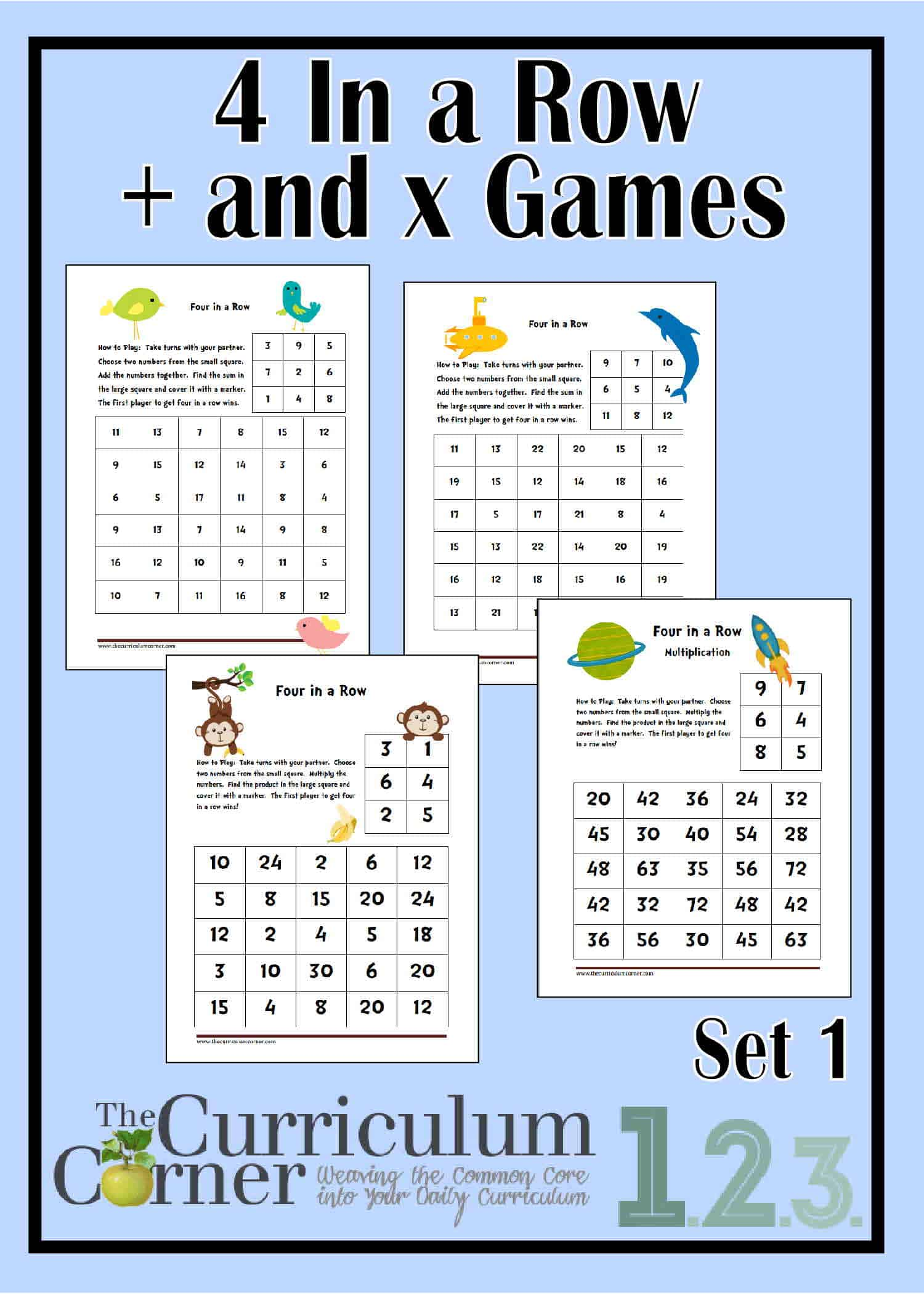 4 In a Row Spring Addition & Multiplication Games