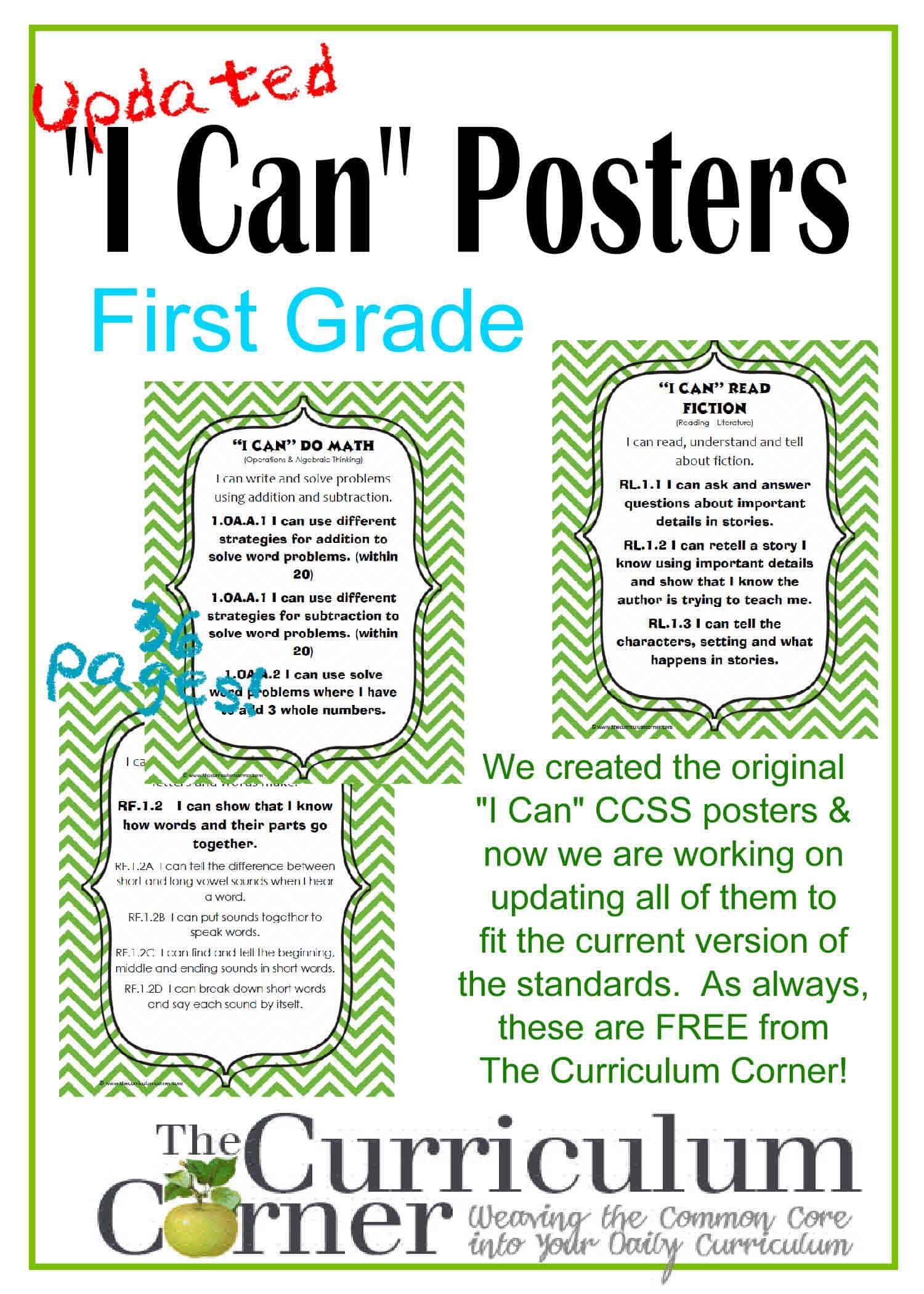 "Updated 1st Grade ""I Can"" CCSS Posters in Green Chevron"