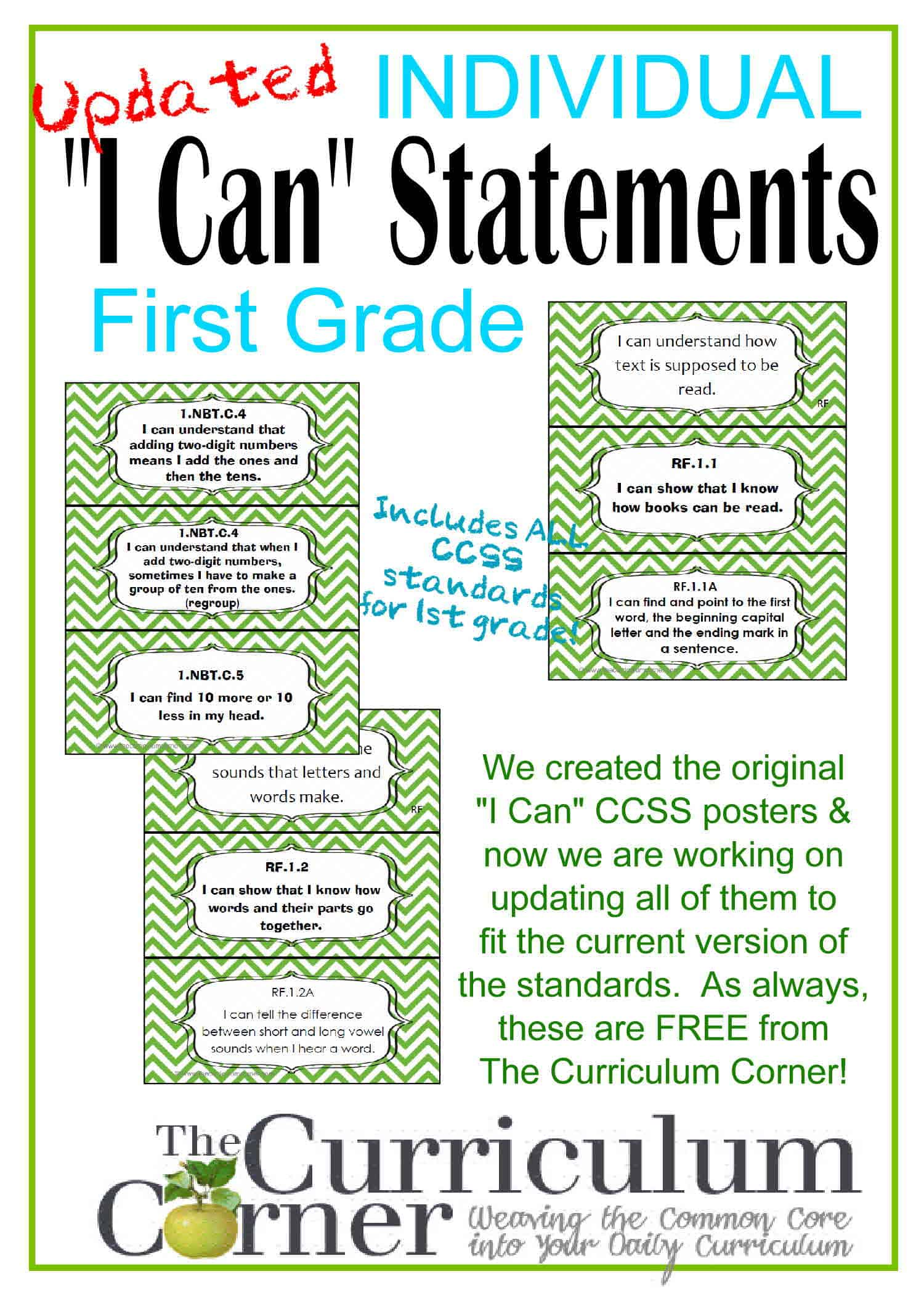 "Updated ""I Can"" CCSS Statements for CCSS 1st Grade (3 Per Page)"