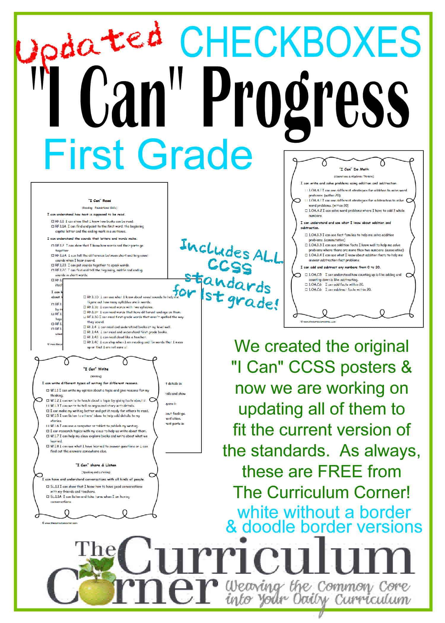 "Updated 1st Grade ""I Can"" CCSS Statements Progress Checkboxes"