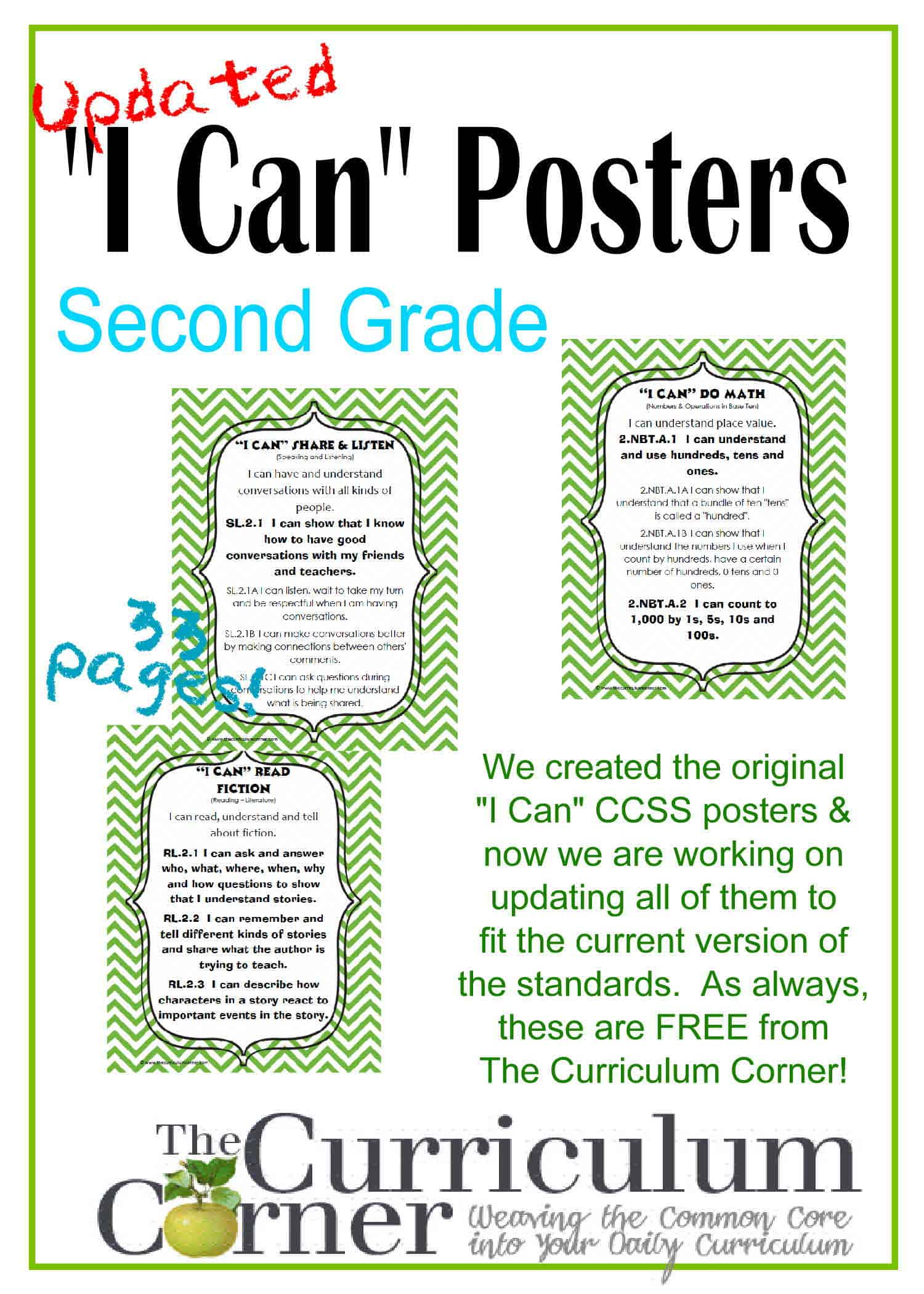 "Updated 2nd Grade ""I Can"" CCSS Posters in Green Chevron"