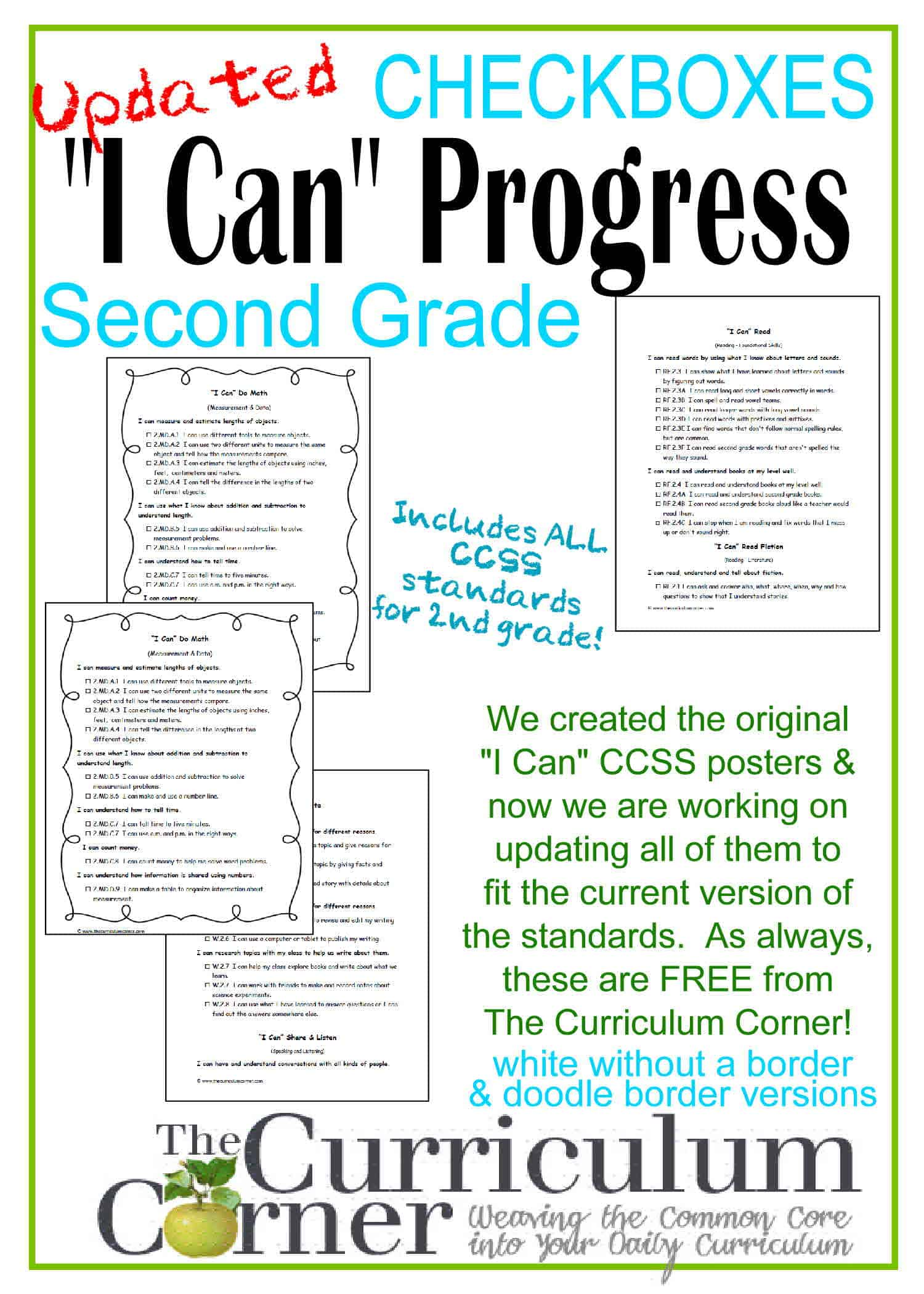 "Updated 2nd Grade ""I Can"" CCSS Statements Progress Checkboxes"