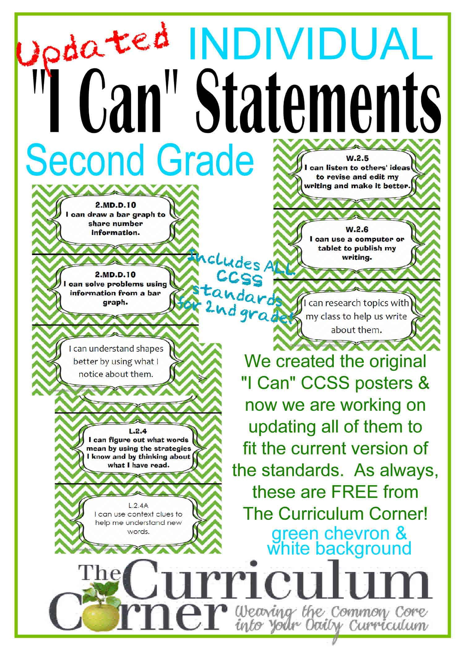 "Updated ""I Can"" Statements for CCSS 2nd Grade (3 Per Page)"