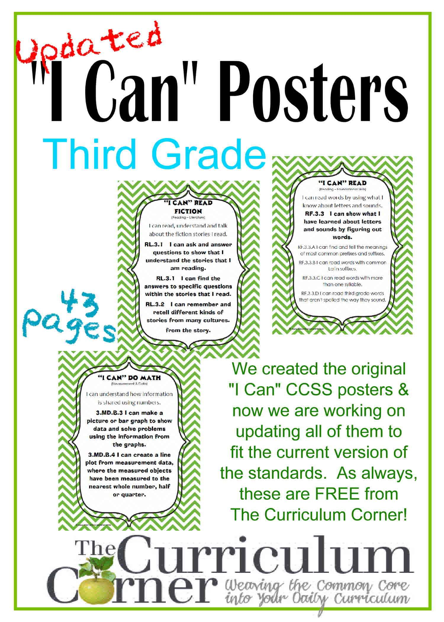 "Updated 3rd Grade ""I Can"" CCSS Posters in Green Chevron"