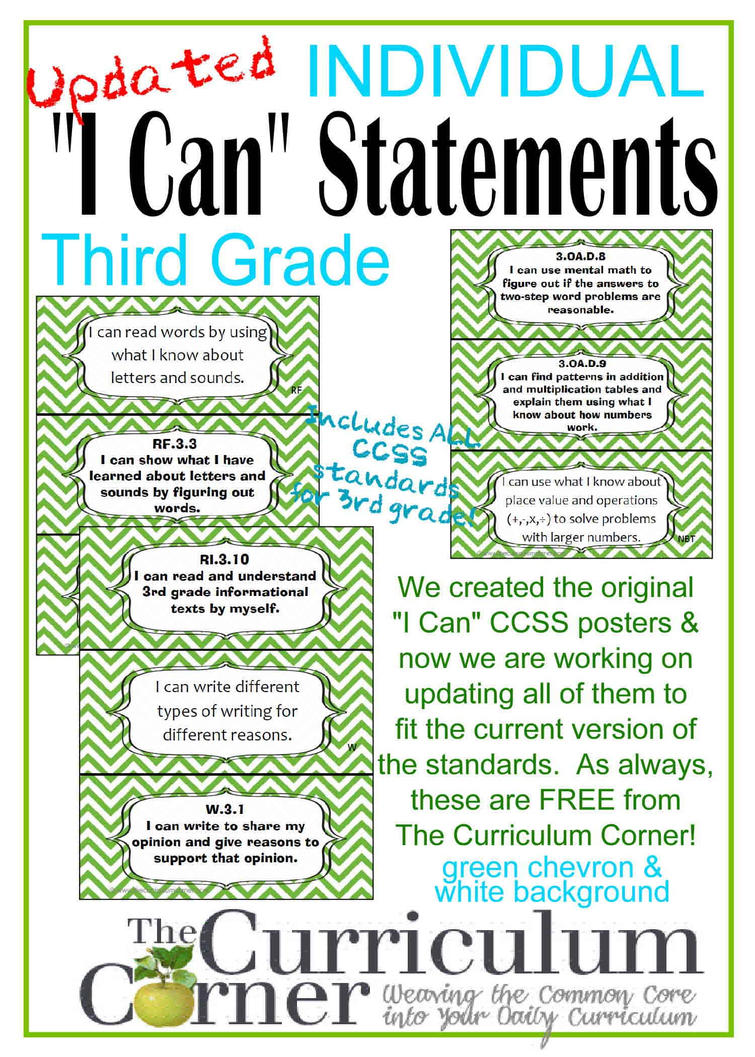 Updated I Can Statements for CCSS 3rd Grade (3 Per Page)