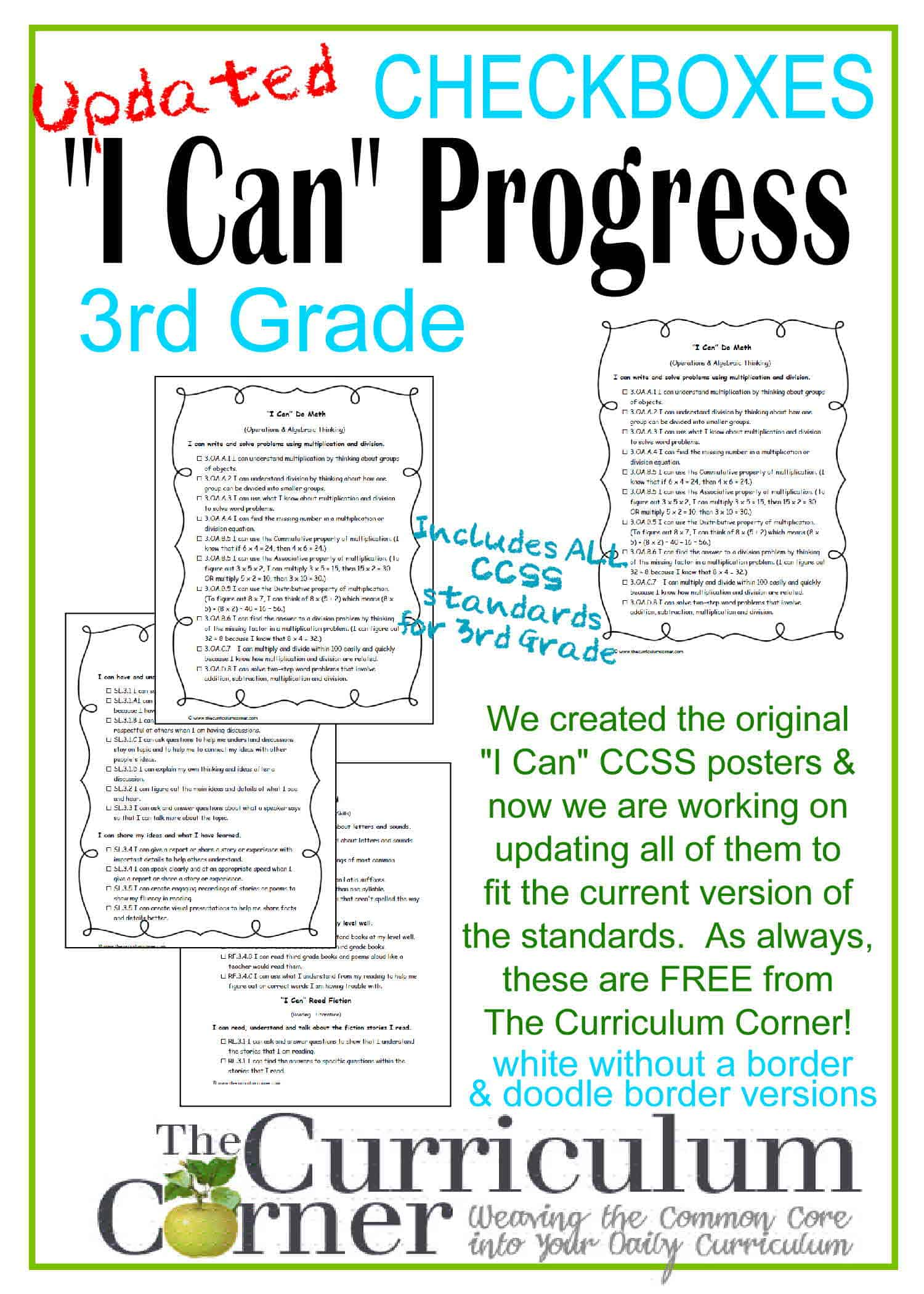 "Updated 3rd Grade ""I Can"" CCSS Statements Progress Checkboxes"