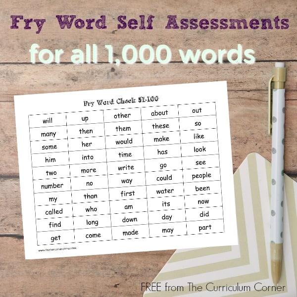Fry Word Self Checks