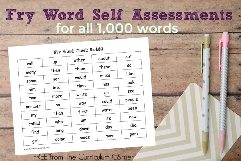 The free Fry Word self assessment pages can be used to help students monitor their Fry Word (sight word) mastery progress.