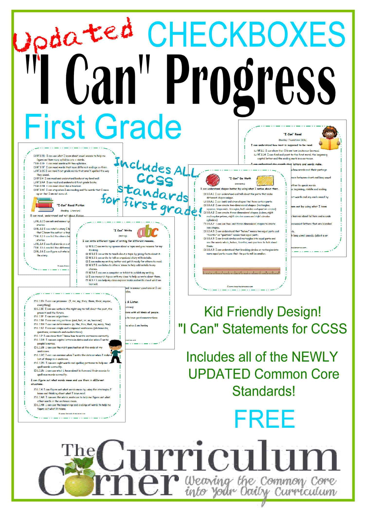 "1st Grade Kid Clip Art ""I Can"" CCSS Statement Progress Checkboxes"