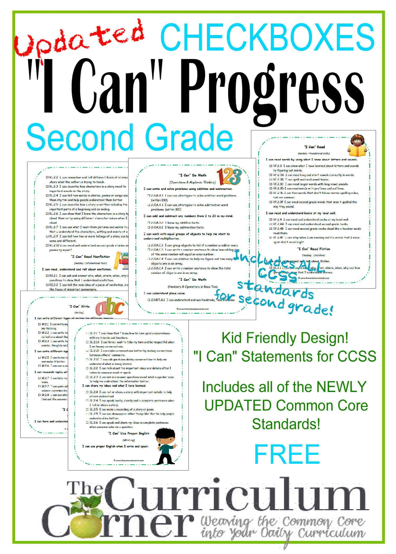 "2nd Grade Kid Clip Art ""I Can"" CCSS Statement Progress Checkboxes"
