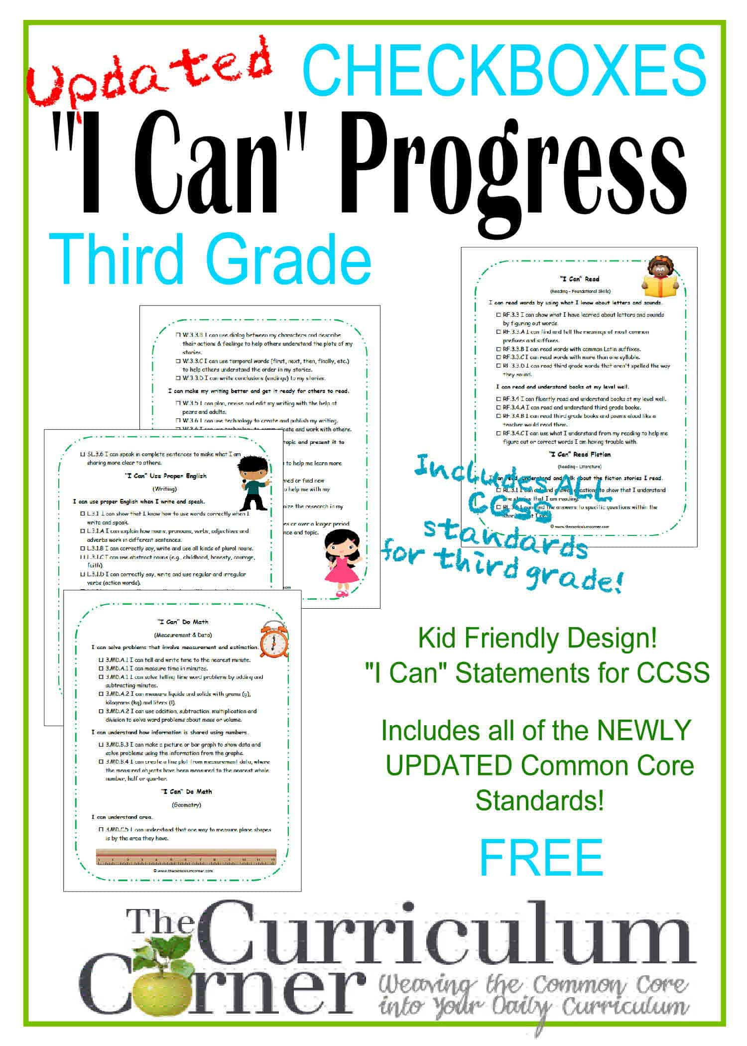 "3rd Grade Kid Clip Art ""I Can"" CCSS Statement Progress Checkboxes"