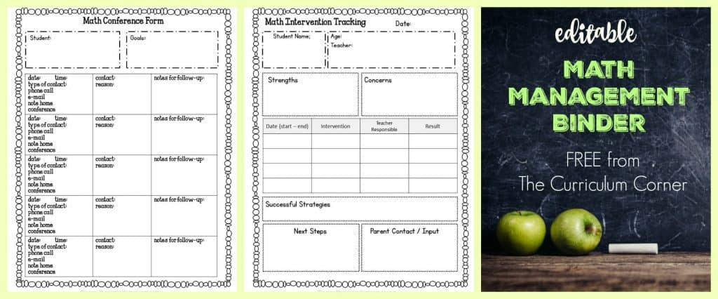 FREE Editable Math Management Binder from The Curriculum Corner   complete binder free   free reading binder and planning binders available too!