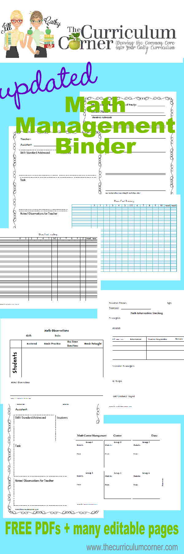 FREE Updated Math Management Binder from The Curriculum Corner for Planning Your Math Workshop - great resource for all teachers!