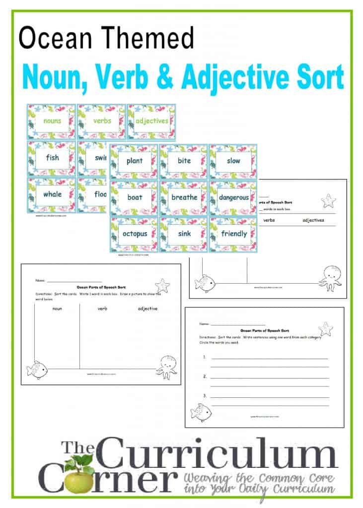 ocean and adjective This set is designed with an ocean theme the curriculum corner 123 ocean themed noun, verb, adjective sort.
