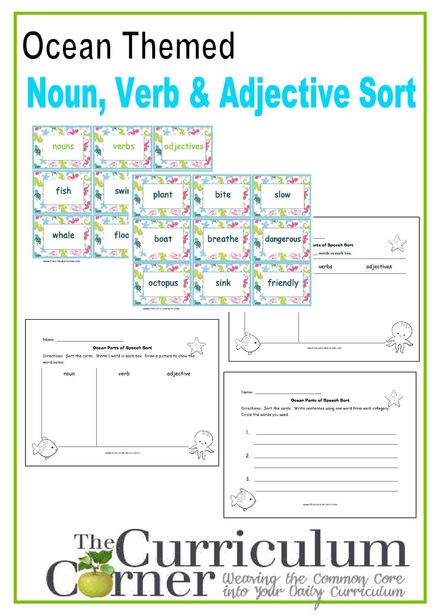 Ocean Themed Noun, Verb, Adjective Sort