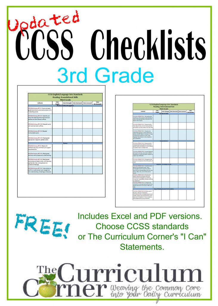 Ccss checklists amp i can checklists for 3rd grade free from www