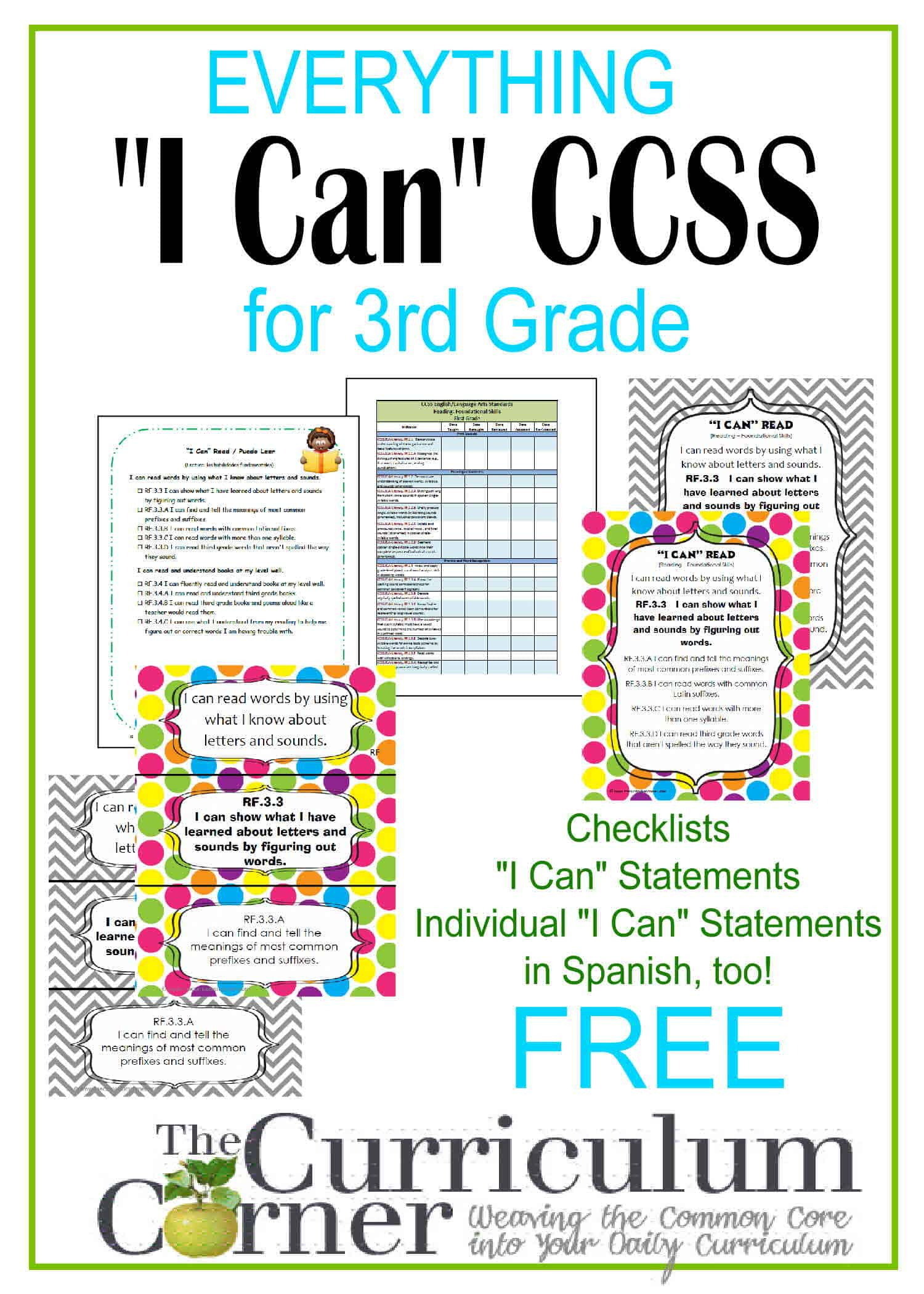 "Everything ""I Can"" Common Core for 3rd Grade"